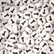 White Plastic Round Alphabet Beads, 7mm, Letter T, 100 pcs