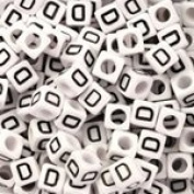 White Plastic Cube Alphabet Beads, Small, 6mm, Letter D, 100 pcs