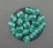20 TEAL CZECH FIRE CRYSTAL FACETED BEADS 6MM