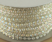 4mm Faux Pearl Plastic Beads on a String Craft Roll Clear Irridescent