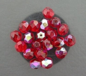 20 SIAM RUBY AB CZECH FIRE CRYSTAL FACETED BEADS 6MM