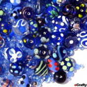 eCrafty EC-372 Jewellery Maker's Lampwork Crystal Glass Beads, 125gm, Mix Blue Floral