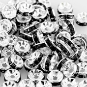 100pcs Rhinestone Rondelle Spacer Beads 8mm - Kare & Kind® Retail Packaging