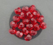 20 SIAM RUBY CZECH FIRE CRYSTAL FACETED BEADS 6MM