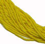 Dark Yellow Opaque Czech 8/0 Glass Seed Beads 1 Full 12 Strand Hank Preciosa Jablonex
