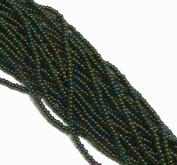 Iris Green Transparent Czech 8/0 Glass Seed Beads 1 Full 12 Strand Hank Preciosa Jablonex