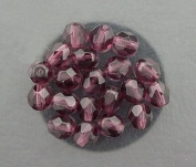 20 AMETHYST CZECH FIRE CRYSTAL FACETED BEADS 6MM