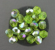 20 OLIVINE AB CZECH FIRE CRYSTAL FACETED BEADS 6MM