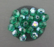 20 GREEN AB CZECH FIRE CRYSTAL FACETED BEADS 6MM