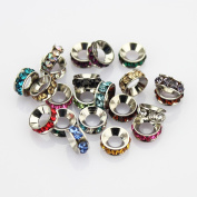 Assorted Colour 10 mm. Crystal Spacer Bead Rondelle Silver Plated Core Birth Stone Fit European Style Chains Pandora Brighton Troll Chamilia Biagi Bead Compatible