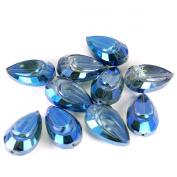Teardrop Leaded Crystal Bead - Blast of Blue - 10pc - 28mm x 16mm x 13mm
