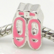 "Jewellery Monster Silver Finish ""Pink Enamel Painted Ballet Slippers"" Charm Bead for Snake Chain Charm Bracelet"