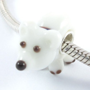 Beads Hunter Jewellery Arctic Puppy, Polar Bear Buddy! Murano Glass Bead with Solid Sterling Stam Silver Tube .925ped Wjqgb087