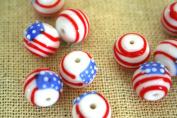 July 4th Patriotic Handmade Lampwork U.S. Flag Round Glass Beads