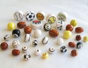 Sports Mix of Ceramics Beads.36 Pieces