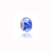Charm Factory White and Blue Lampwork Glass Bead