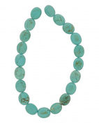 Tennessee Crafts 1644 Semi Precious Dyed Howlite Turquoise Flat Beads, Oval, 8 by 10mm