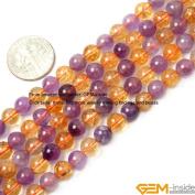 Gem-Inside Round Amethyst Citrine Beads Strand 38cm
