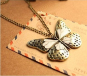 Gold Plated Vintage fashion White Butterfly Pendent Bronze Long Necklace / Sweater Chain----(With Cutely Gift Box)---Awesome gift for Holidays--. From USA--takes 2-6 working days with shelley.kz INC-------