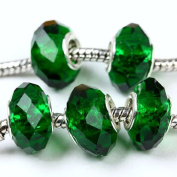 5pc Dark Green Crystal Glass Faceted Big Hole Beads C46
