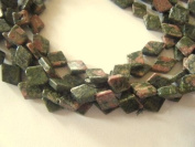 Bead, Unakite Diamond Beads 14mm - 14""