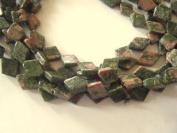 """Bead, Unakite Diamond Beads 14mm - 14"""""""