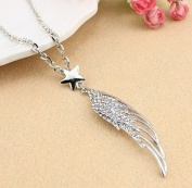Sliver Plated Crystal Lovely Bling Angel's Wing With Star Long Necklace / Sweater Chain--(With Cutely Gift Box)-----. From USA--takes 2-6 working days with shelley.kz INC-------