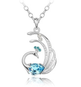 Crystal Lovely Bling lake blue Phoenix Necklace /Chain--(With Cutely Gift Box)-----. From USA--takes 2-6 working days with shelley.kz INC-------