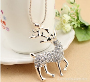 Gold Plated Crystal Deer Long Necklace / Sweater Chain--(With Cutely Gift Box)-----. From USA--takes 2-6 working days with shelley.kz INC-------