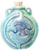 Peruvian Hand Crafted Ceramic Raku Glazed Orca Whales Bottle Pendant, 40 by 48mm