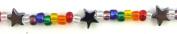 Rainbow Small Glass Beads Star Bracelet 18cm