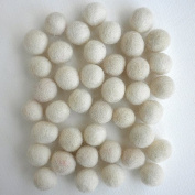 Felted Wool Bead 40 Piece Colour Packs- 40 Cream