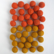 Felted Wool Bead 40 Piece Colour Packs- Orange & Yellow