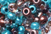 Beaders Paradise LT6E404 Czech Glass Green and Copper Mix 6/0 E-Beads in a Tube