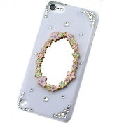 3D Flower Mirror Crystal Diamond White Case Cover for Apple Ipod Touch 5