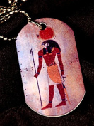 Horus, 2-Sided Dog Tag Pendant, Key Fob, Egyptian Mythology, God of War, Sky, Protection