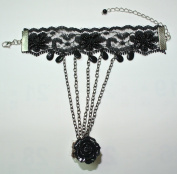 Gothic Lolita Beaded Tassels Rose Water Drop Shaped Lace Ring Bracelet