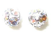 8pcs 6mm. Rhinestone Filigree Balls Silver/Clear AB B603