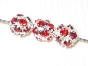 8 6mm. Filigree Balls Silver/Siam Crystal