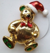 Christmas Pin Gold Bear Santa Macy's Holiday Lane
