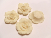 New 4 Large Fimo Polymer Clay Rose Flower Light Yellow Beads 40mm No Hole