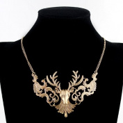 Fashion Vintage Gold Colour Alloy Delicate Reindeer Head Graceful Chunky Necklace