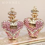 H1019 Big Size 2pcs Pink Crystal Perfume Design Charm Pendant