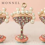 H542 Wholesale 3pcs Cute Crystal Champagne Cocktail Charm Pendant