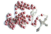 Rosarybeads Red Metal Rosary Beads / Rosaries Strong Wire Bnib Silver Coloured Metal Crucifix