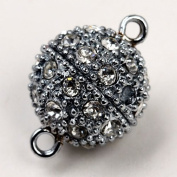 5pcs Rhinestone Magnetic Slivery Round Beads Clasp 12mm