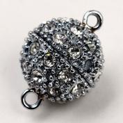 5pcs Rhinestone Magnetic Slivery Round Beads Clasp 12mm