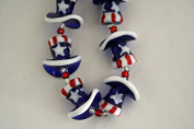 July 4th Patriotic Handmade Lampwork Uncle Sam Hat Glass Beads