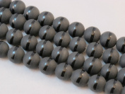 Matte Black Onyx Nature Onyx Gemstone with One-line Round Bead 12mm 15.5''