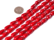 "7X10mm Drop Red Coral Beads Strand 15"" Jewellery Making Beads"